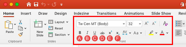Font group within the Home tab of the Ribbon