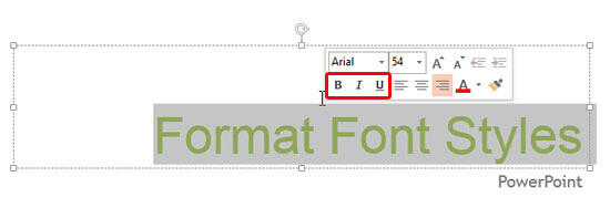 Bold, Italic, and Underline options within Mini Toolbar