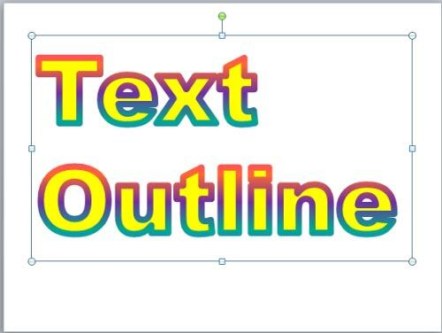 Gradient outline applied to the selected text