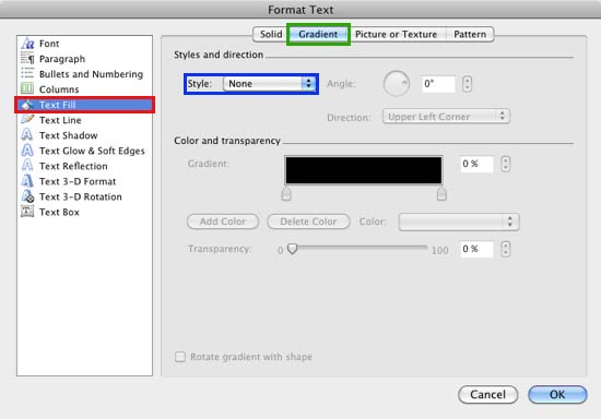 Format Text dialog box with Gradient Style set to None