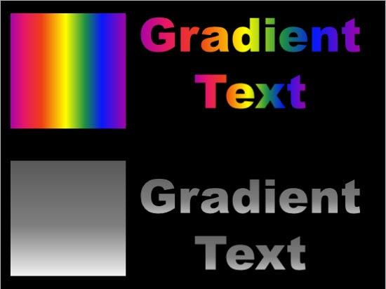 Two examples of gradient fills for text