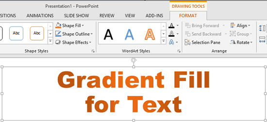 Text with gradient fill applied