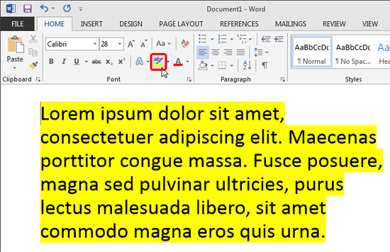 Text highlighted