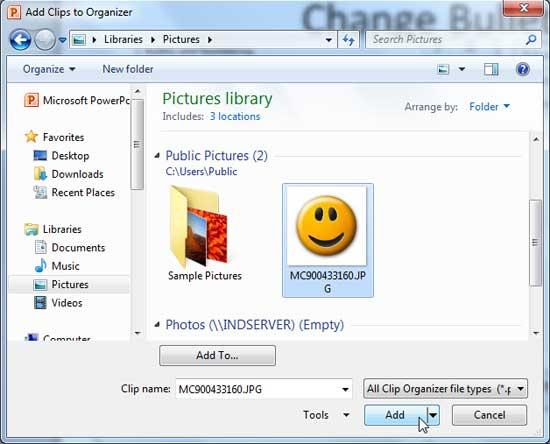 Add Clips to Organizer dialog box