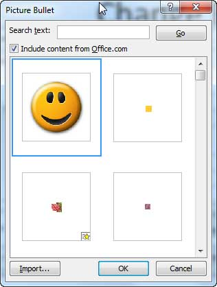 Picture added to the Picture Bullet dialog box