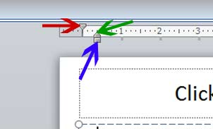 Indent markers on horizontal ruler