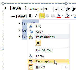 Paragraph option selected within the context menu