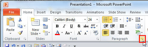 Paragraph dialog launcher within Home tab