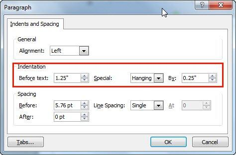 Indentation options within Paragraph dialog box