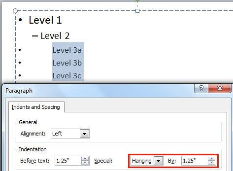 By value changed with Hanging option selected