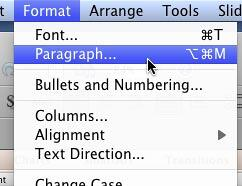 Paragraph option selected within the Format menu