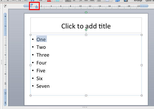 Rulers made visible in PowerPoint 2011 interface