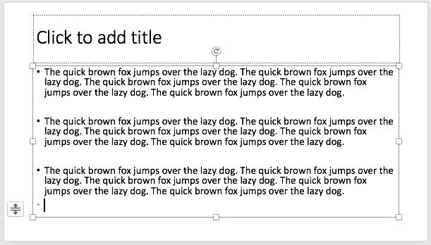 Dummy text inserted in the selected text placeholder