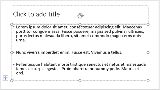 Lorem ipsum text inserted in the selected text placeholder