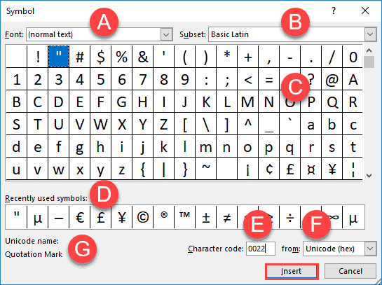 The Symbol dialog box