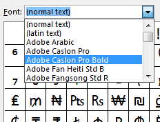 Insert symbols by choosing a specific font