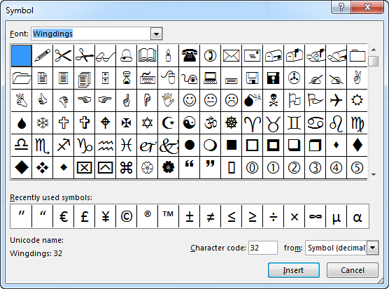 Choose to insert characters from a dingbat font