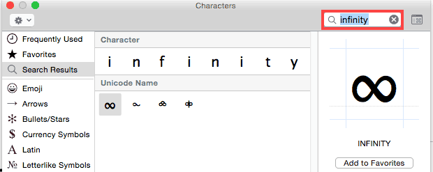 Search symbols or characters