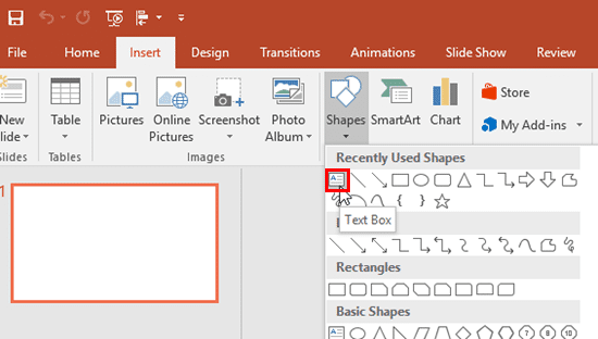 Text Box option within the Shapes drop-down gallery