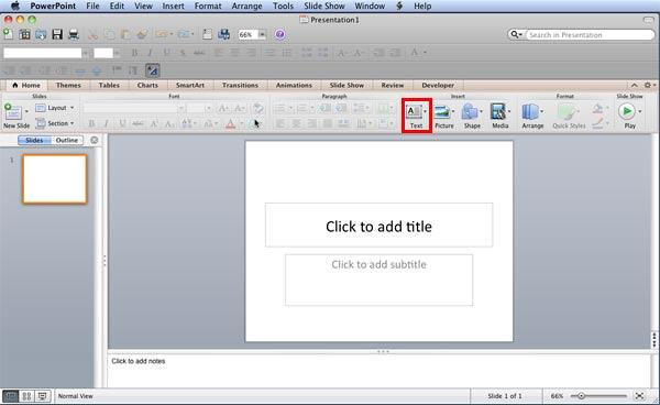 PowerPoint 2011 opens with a blank presentation when launched