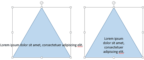 Text within the shape when not wrapped and same shape with text wrapped
