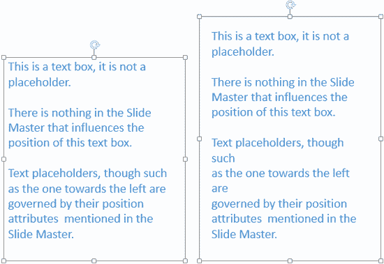 Compare the same text container with differing internal margins