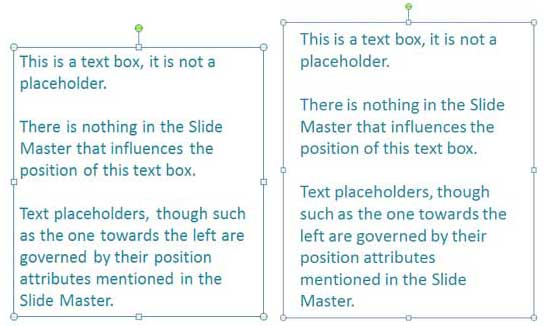 Compare the same text container with differing margins