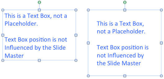 Variations of the same text box with default and changed internal margin settings