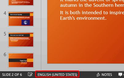 Language being displayed on the Status Bar