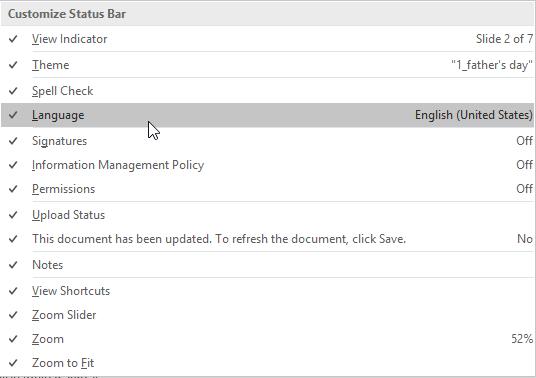 Language option selected