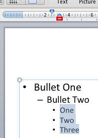 Bulleted paragraphs selected
