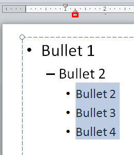 Bulleted paragraphs selected in PowerPoint 2010