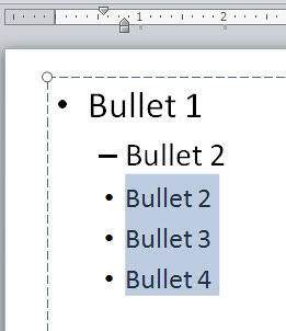 Selected bulleted paragraphs repositioned to new indent leftwards