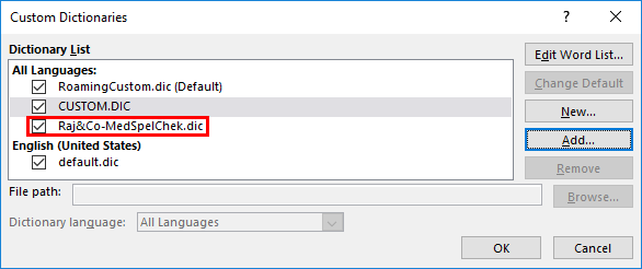 Selected Dictionary Added