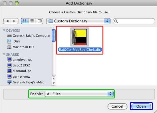 Add Dictionary dialog box