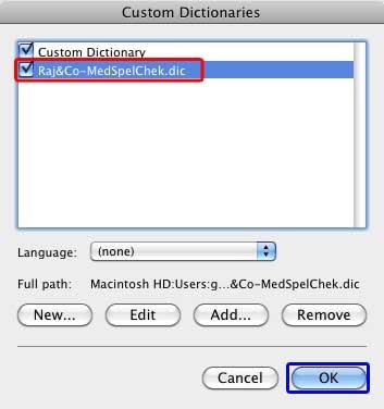 New dictionary within Custom Dictionaries dialog box