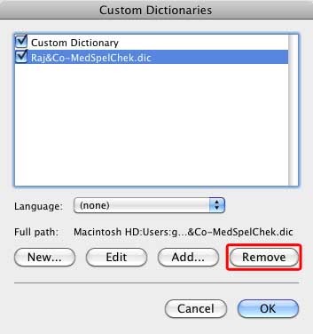 Custom dictionary selected for deletion