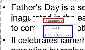 Contextual menu containing spelling suggestions