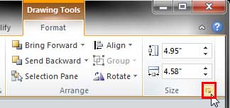 Dialog launcher within the Size group