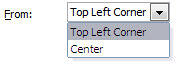 Options within the From drop-down list to decide the anchor point for the text box