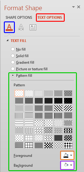 Pattern fill options within Format Shape Task Pane