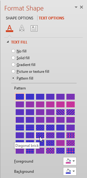 Various Pattern fill options selected for the text
