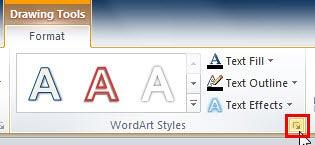 Format Text Effects dialog launcher