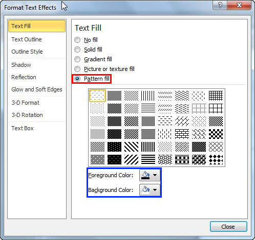 Pattern fill options within Format Text Effects dialog box