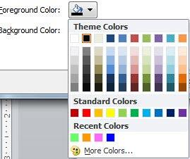Color gallery for Foreground and Background colors