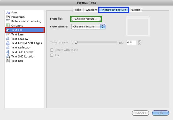 Format Text dialog box