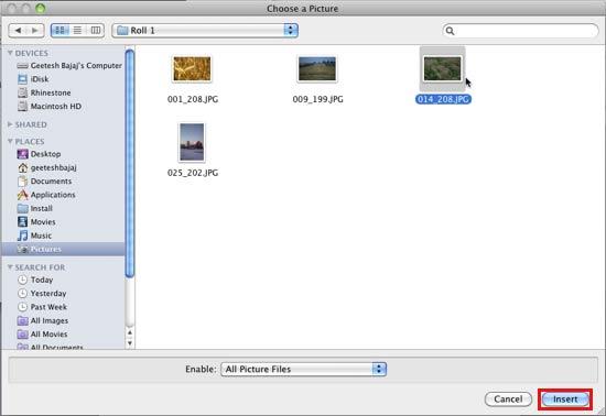 Choose a Picture dialog box