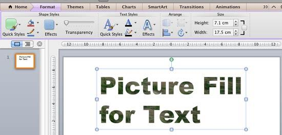 Text with picture fill added