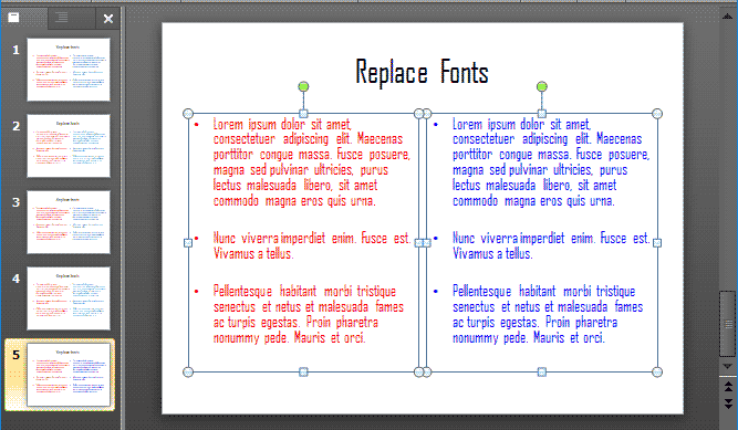 Fonts in the presentation changed