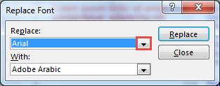 Replace Font dialog box